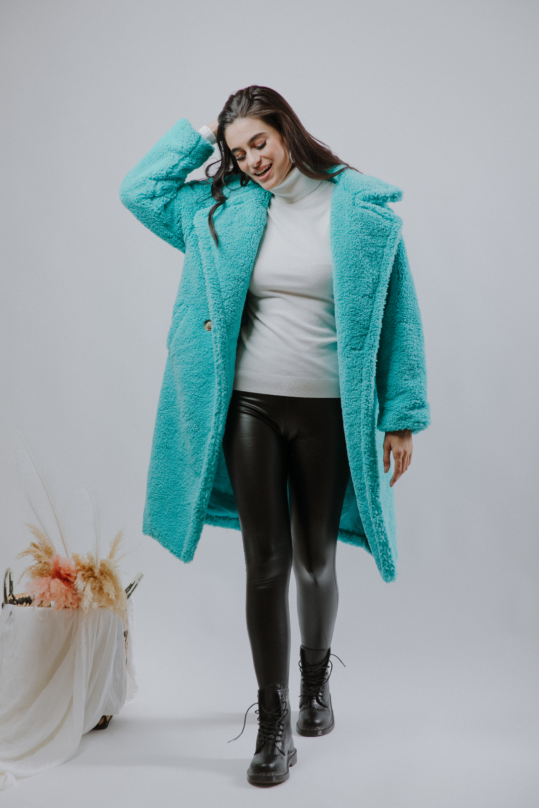 Aqua Teddy Coat