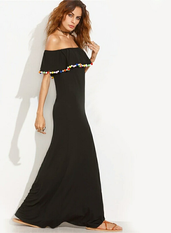 Pom Pom Strapless Dress