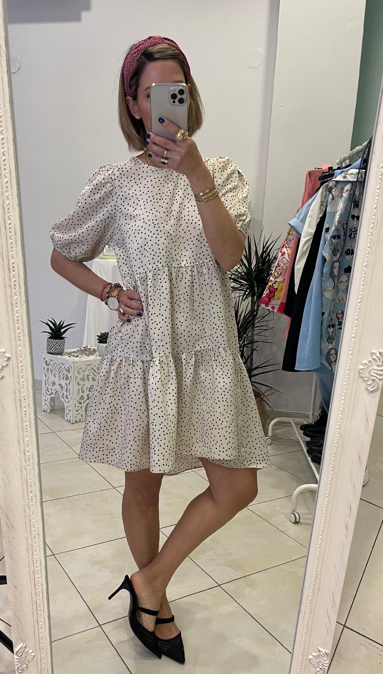 Dot Me Beige Dress
