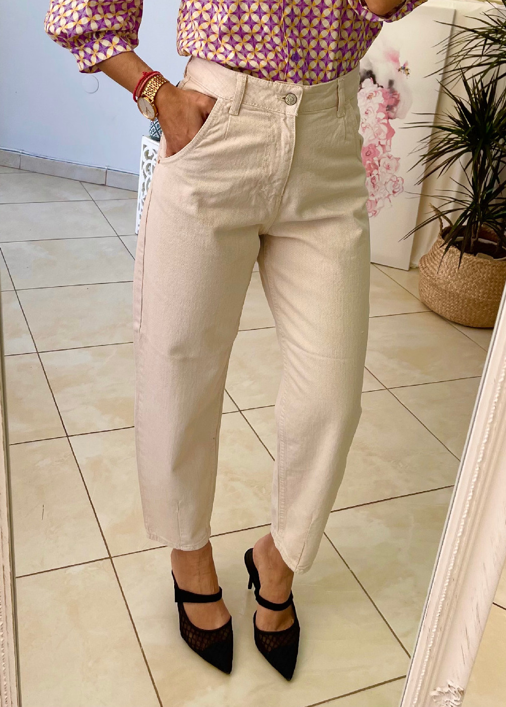 Beige Mom's Fit Jeans