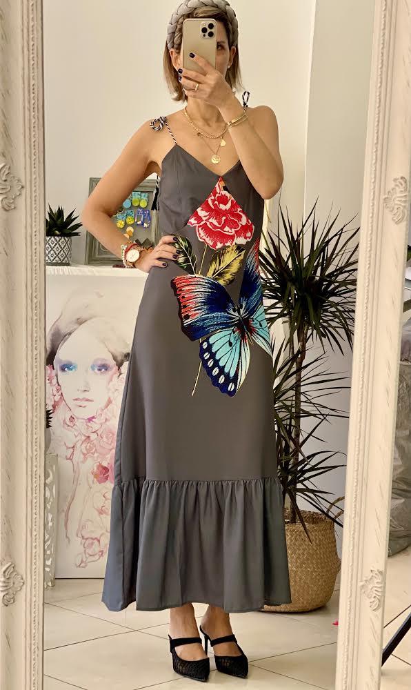 Butterfly Grey Dress