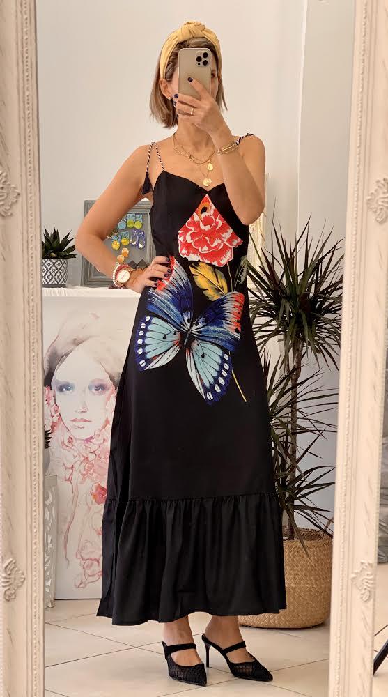 Butterfly Black Dress