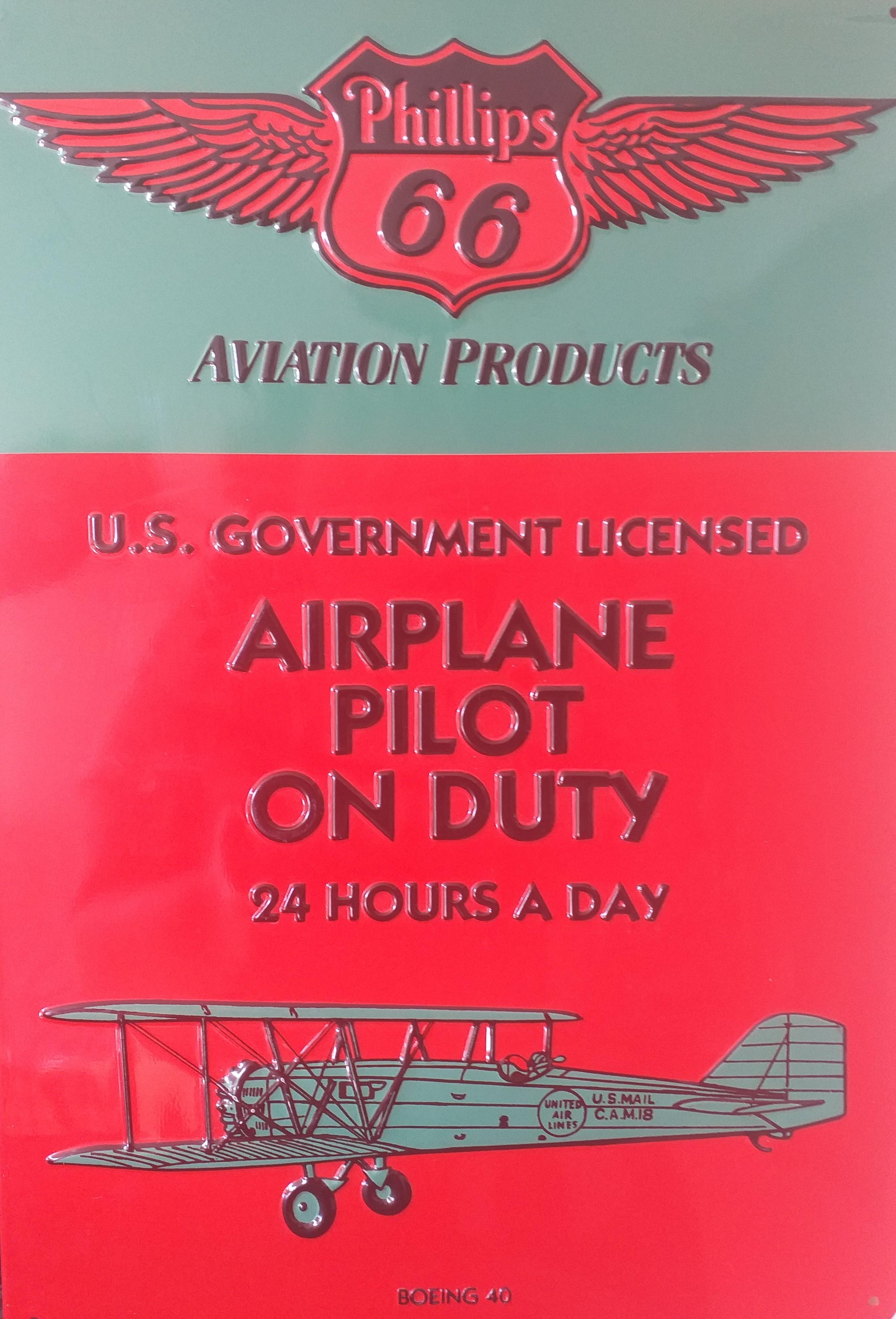 Letrero de metal ¨ AIRPLANE PILOT ON DUTY¨