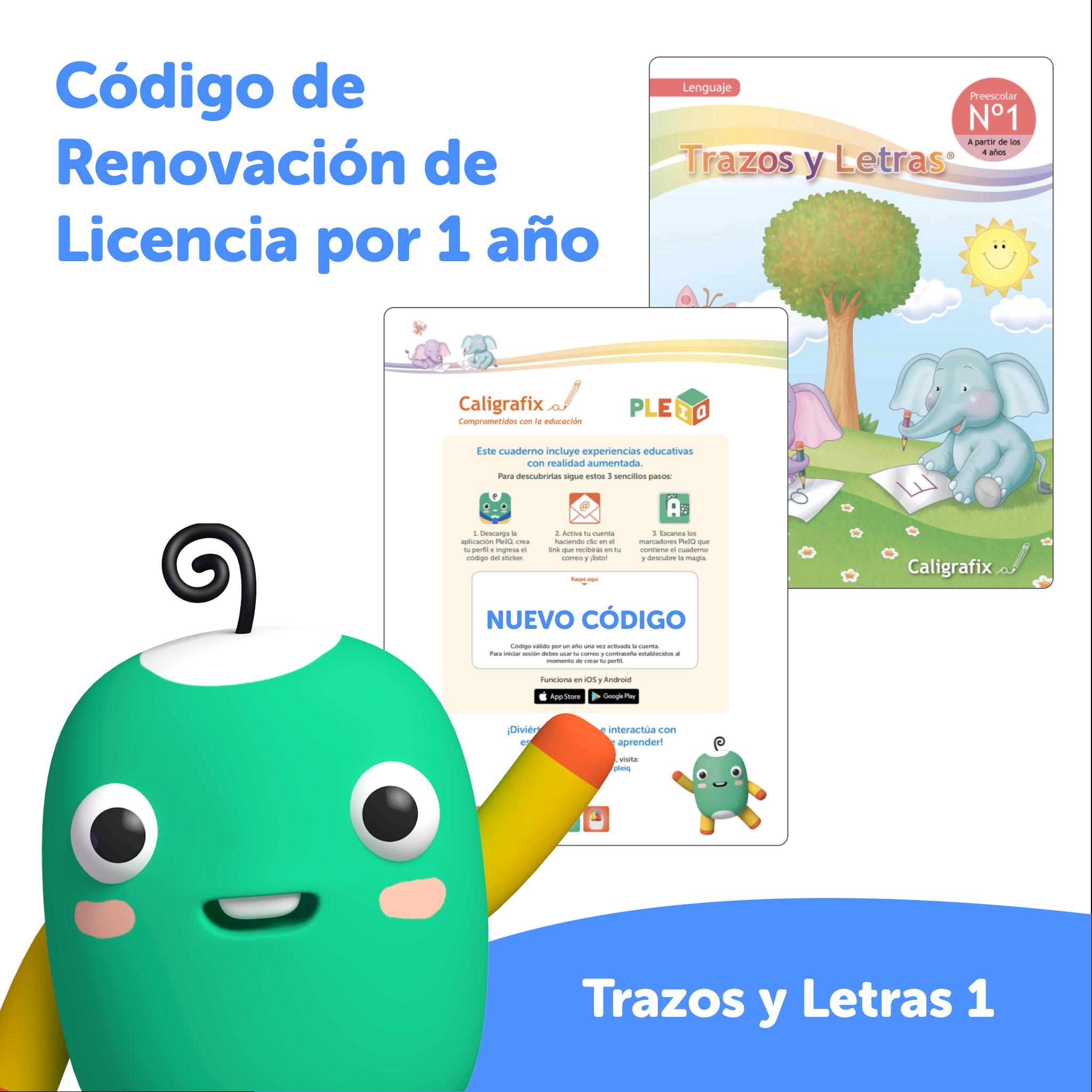 Código de renovación - Licencia Trazos y Letras 1