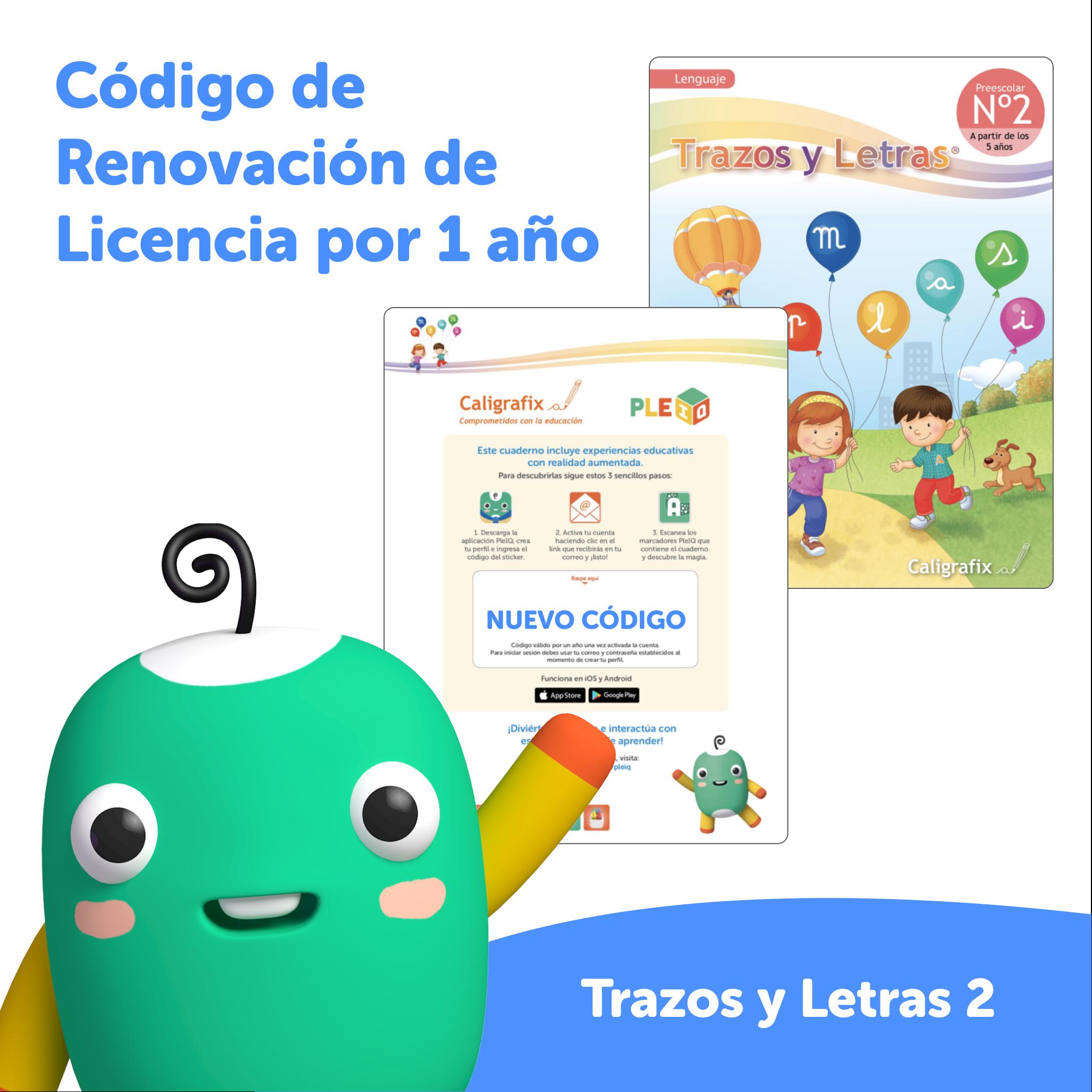 Código de renovación - Licencia Trazos y Letras 2