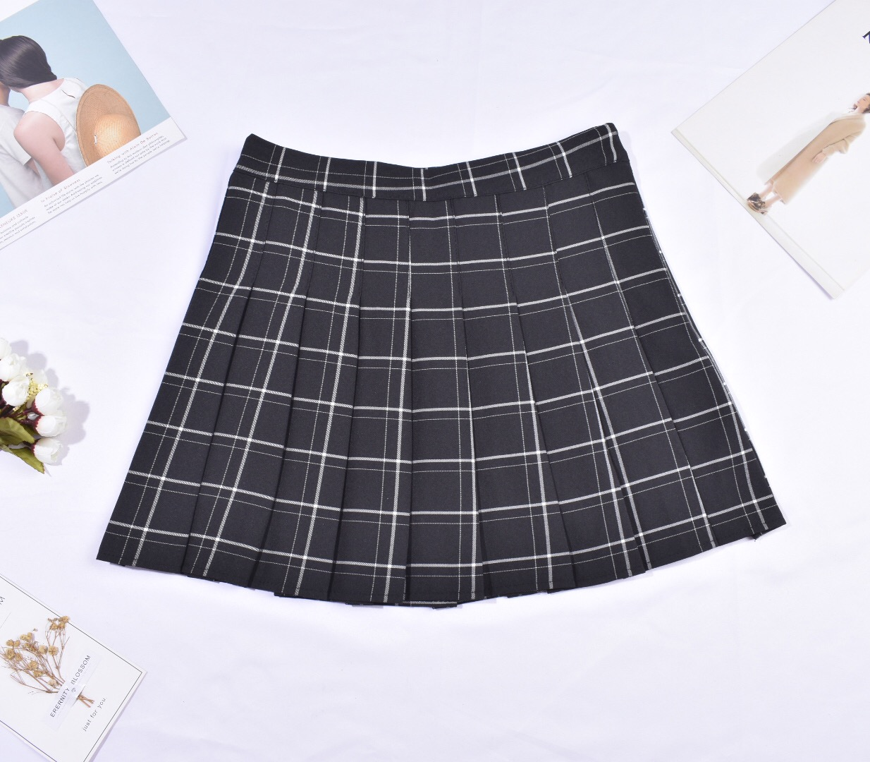 Falda Tenis negra cuadrille
