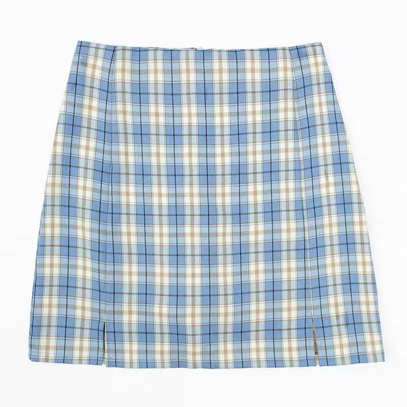 Falda recta cuadrille azul