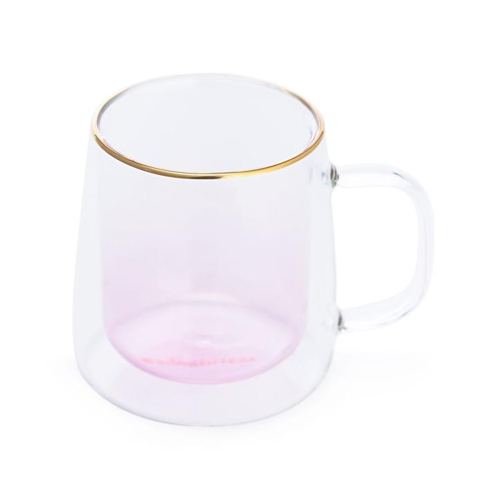 Taza Doble Vidrio Pink
