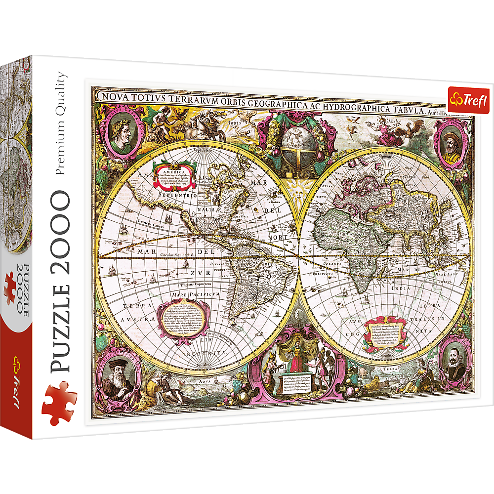 A New Land and Water Map of the Entire Earth, 1630 | Puzzle Trefl 2000 Piezas