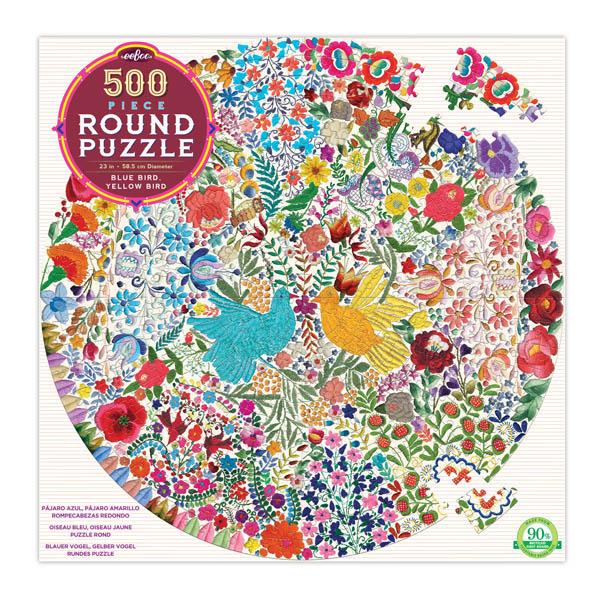 Pájaro Azul y Pájaro Amarillo   Puzzle Eeboo Redondo 500 Piezas