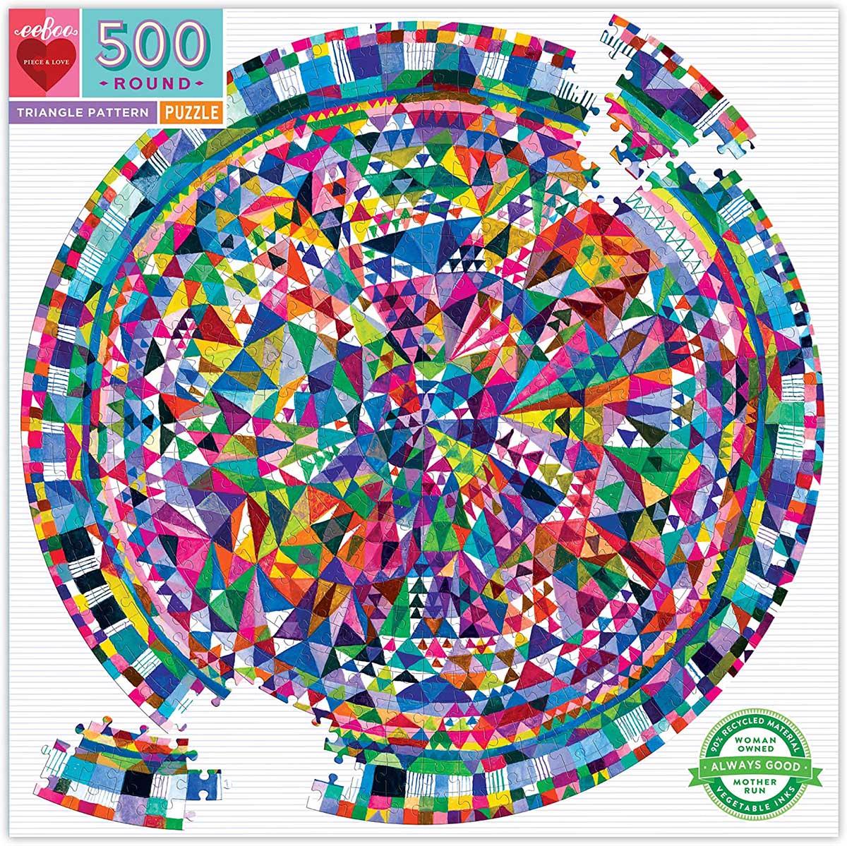Estampado de Triángulos | Puzzle Eeboo Redondo 500 Piezas