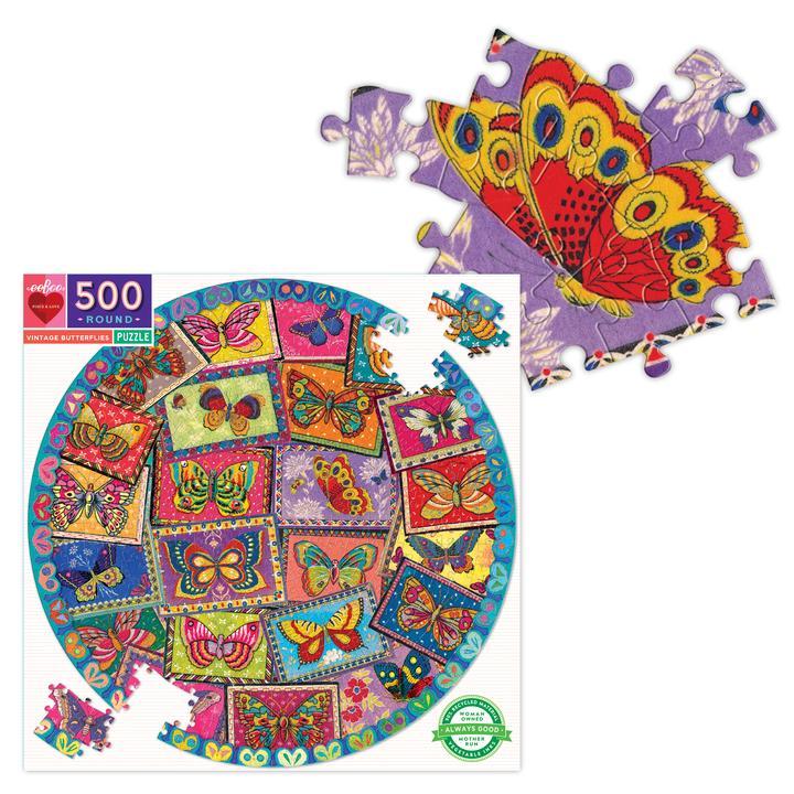 Mariposas de Época   Puzzle Eeboo Redondo 500 Piezas