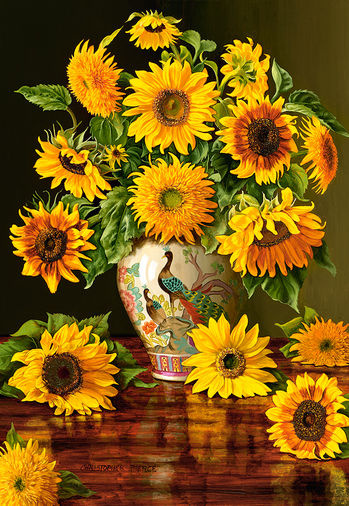 Girasoles en florero de pavo real   Puzzle Castorland 1000 Piezas