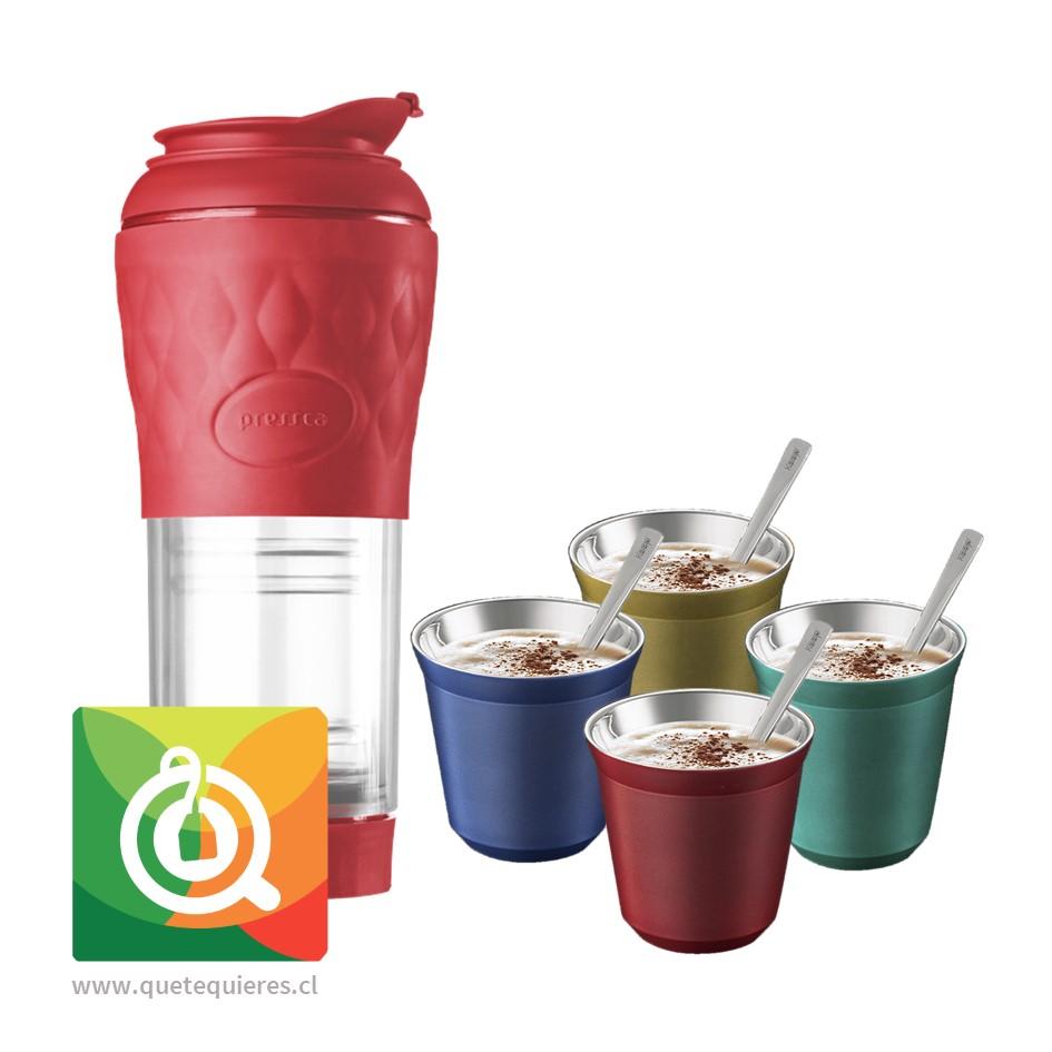 Pack Pressca Cafetera Portátil Rojo + Keep Vasos Espresso