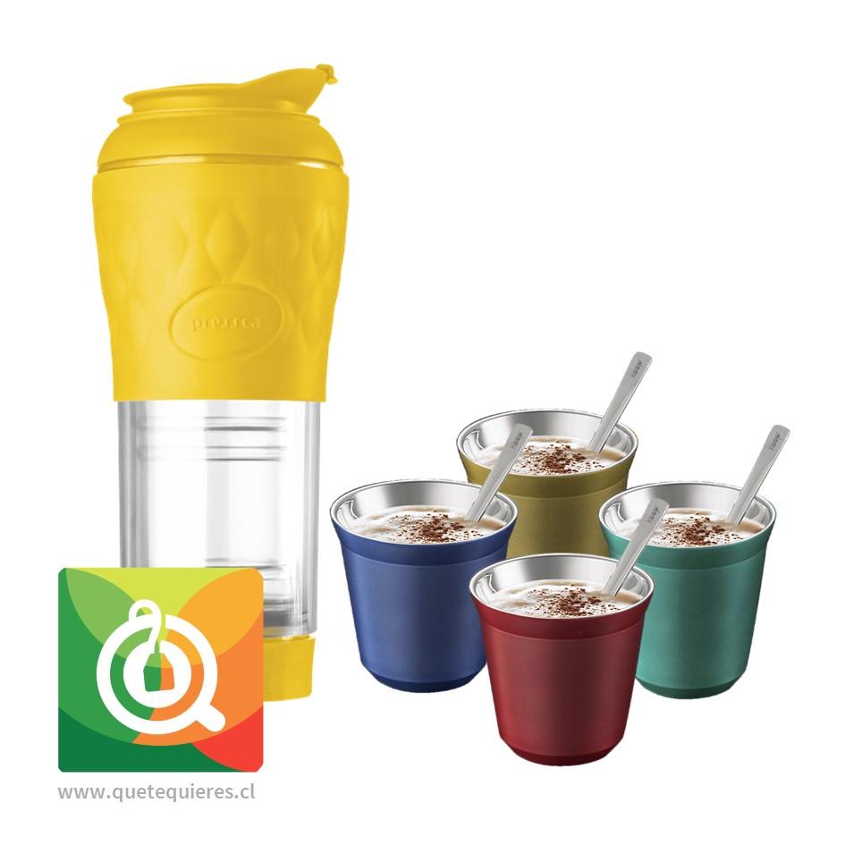 Pack Pressca Cafetera Portatil Amarilla + Keep Vasos Espresso