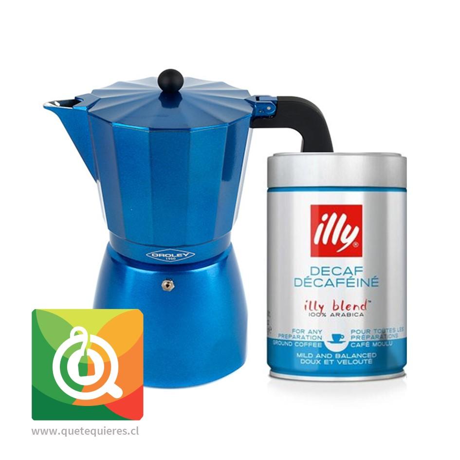 Pack Oroley Cafetera Blue + Illy Café Descafeinado