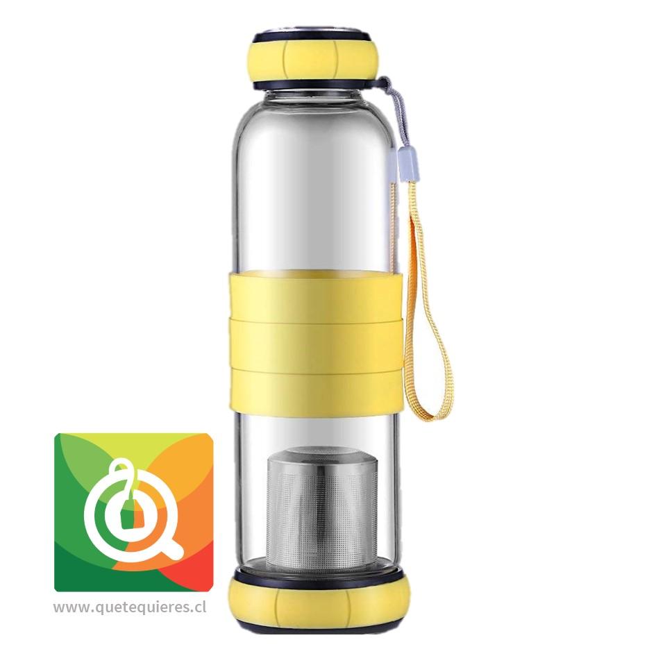 Sling Glass Botella Vidrio con Infusor Metálico - Amarillo 550 ml