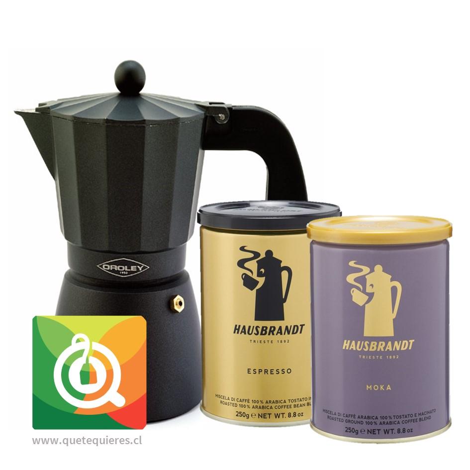 Pack Hausbrandt Cafés Grano Molido + Oroley Cafetera Italiana Touareg