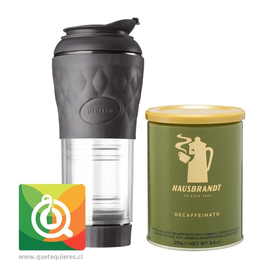 Pack Hausbrandt Café Grano Molido Descafeinado + Pressca Cafetera Portátil
