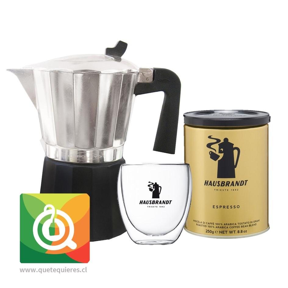 Pack Hausbrandt Café Grano Molido Espresso + Vaso 250 ml + Oroley Cafetera