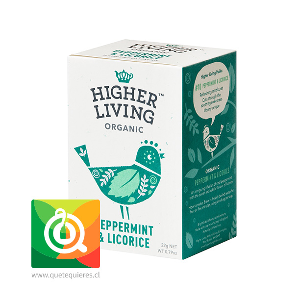 Higher Living Infusión Menta y Regaliz Orgánica - Peppermint & Licorice