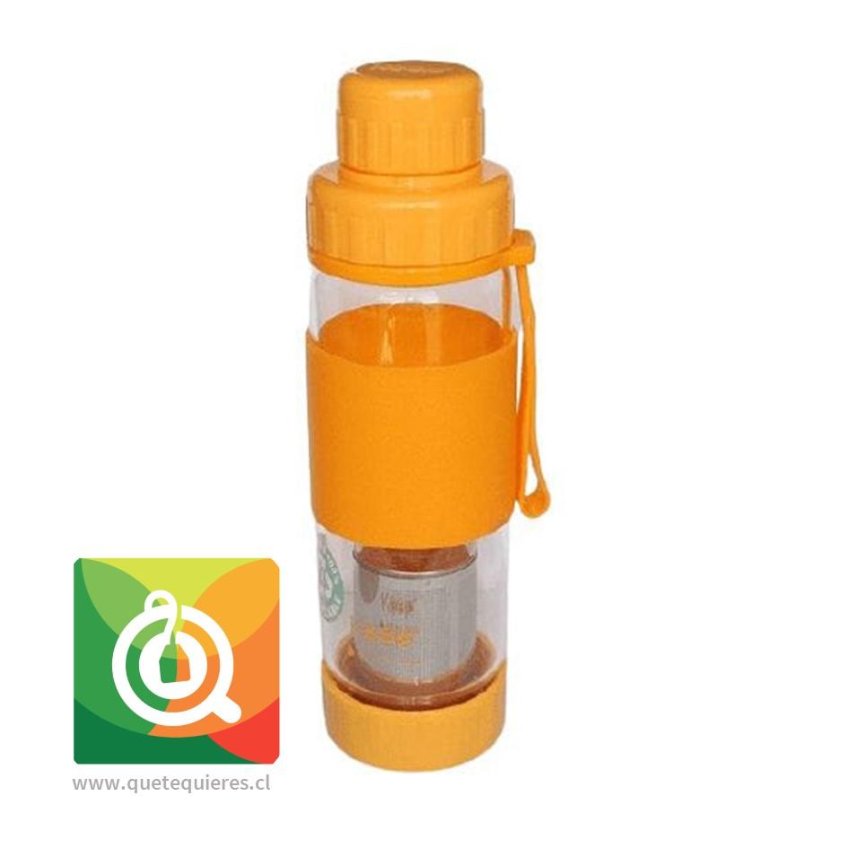 Keep Botella de Vidrio Infusora de Té y Hierbas Naranja