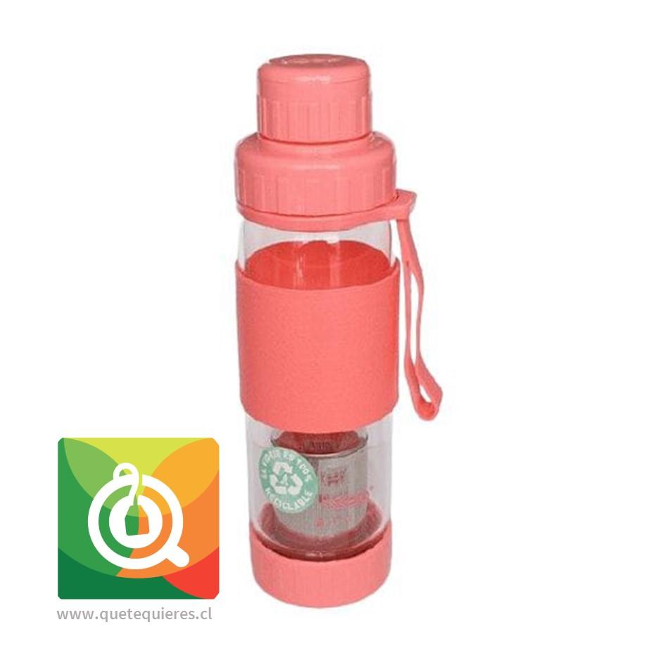 Keep Botella de Vidrio Infusora de Té y Hierbas Fucsia