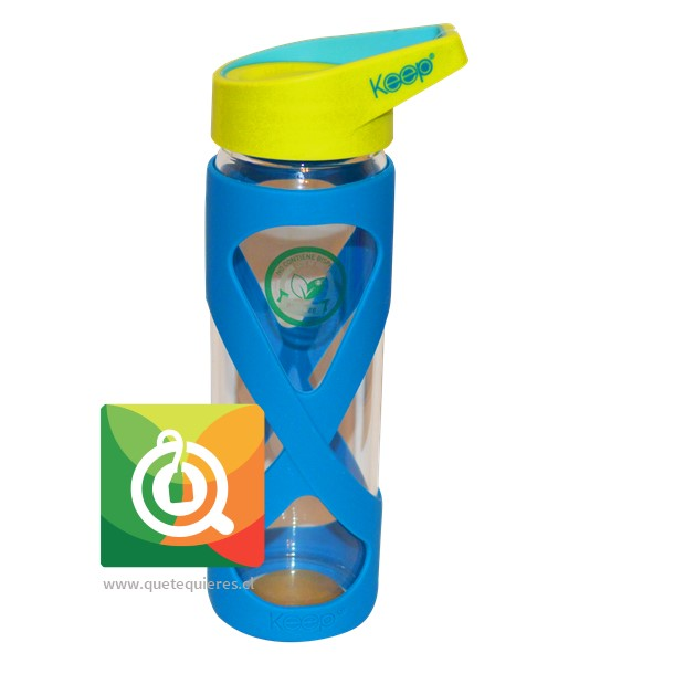 Keep Botella de Vidrio Azul