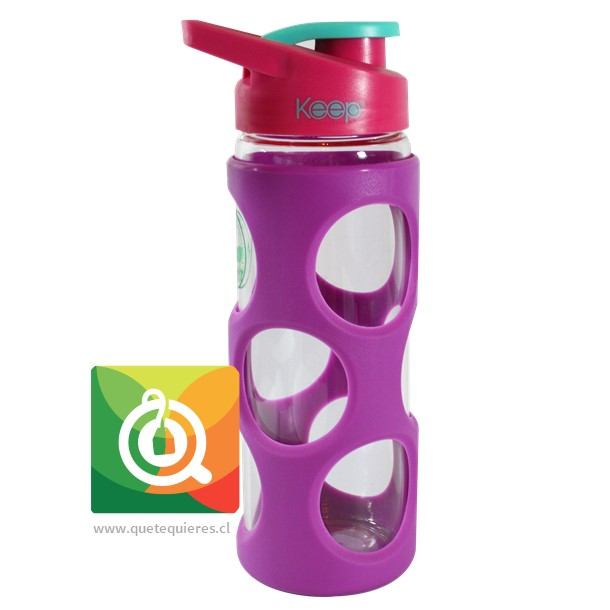 Keep Botella de Agua Vidrio con funda Plastica Morada