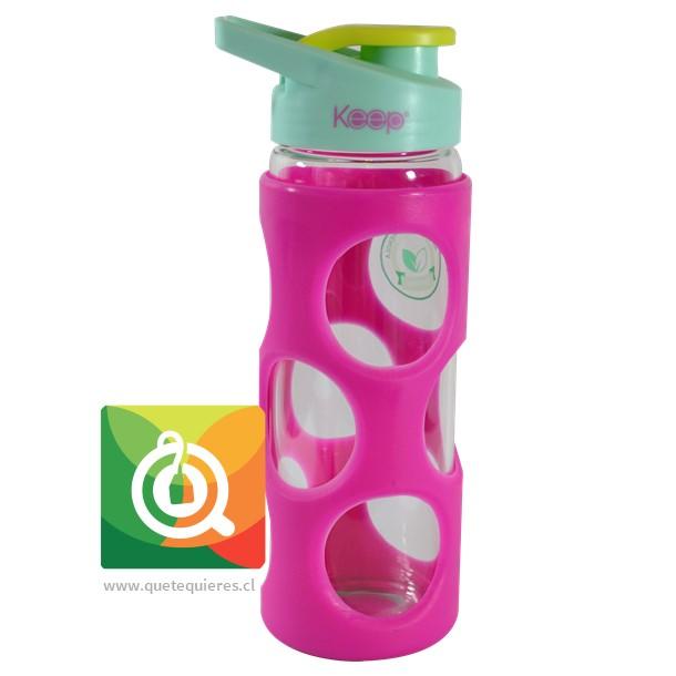 Keep Botella de Agua Vidrio con funda Plastica Fucsia