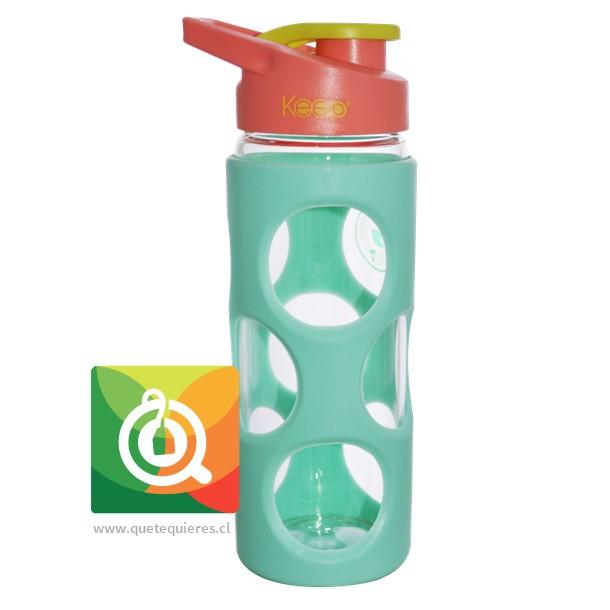 Keep Botella de Agua Vidrio con funda Plastica Verde Agua