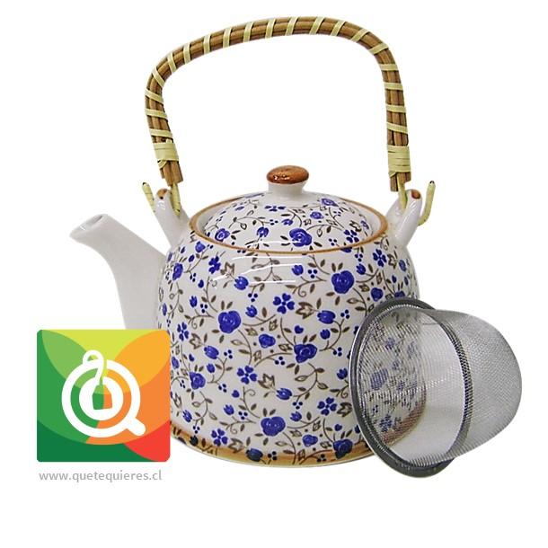 Tetera para té con infusor Mango Bambu - Florcitas azules