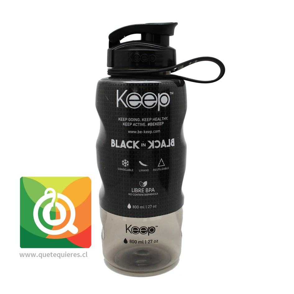 Keep Botella de agua Anatómica Black in Black 800 ml