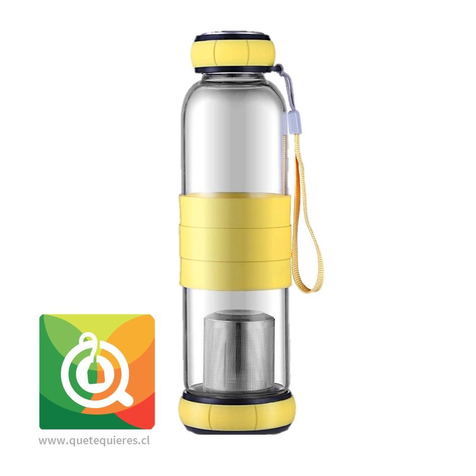 Sling Glass Botella Vidrio con Infusor Metálico - Amarillo