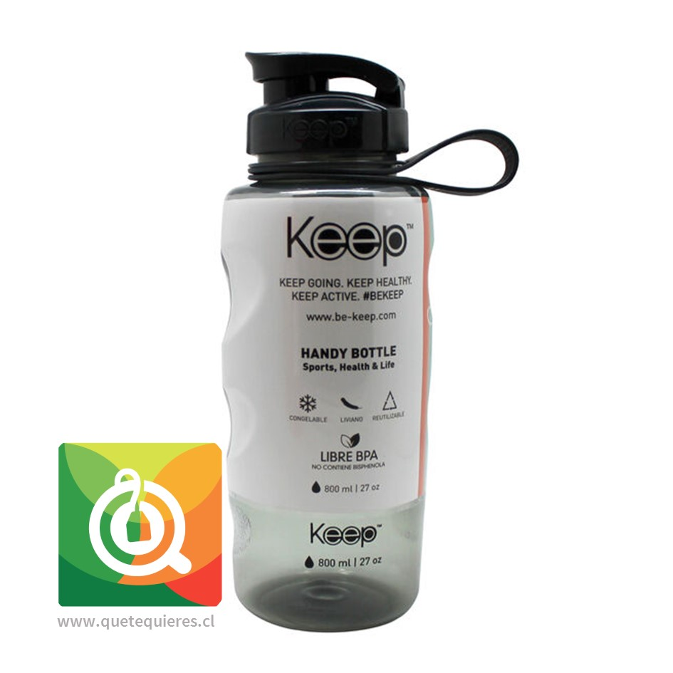 Keep Botella de agua Anatómica Negro 800 ml