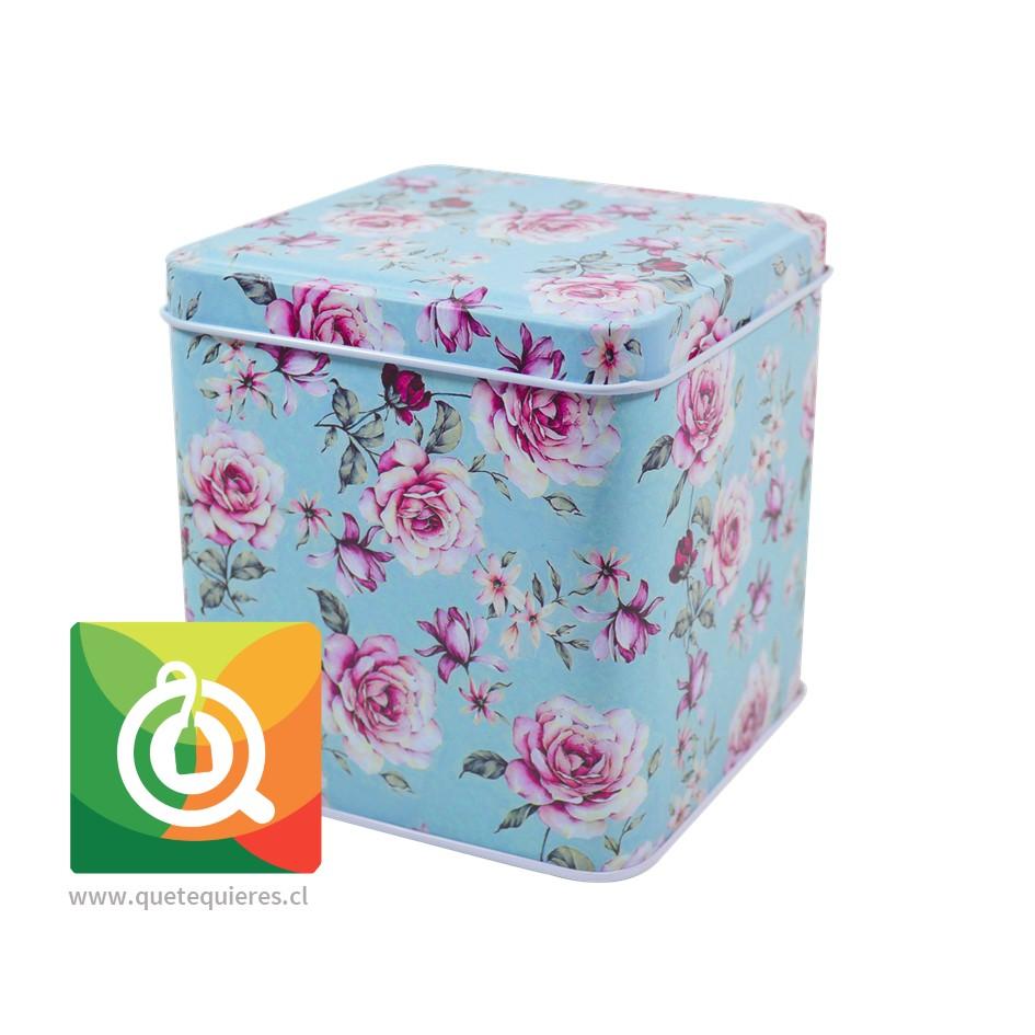 QTQ Latas Para el Té 100 gr. Diseño Celeste con Rosas