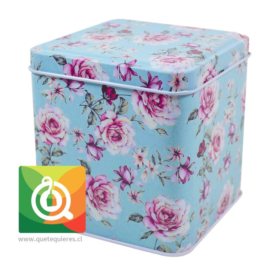 QTQ Latas Para el Té 200 gr. Diseño Celeste con Rosas