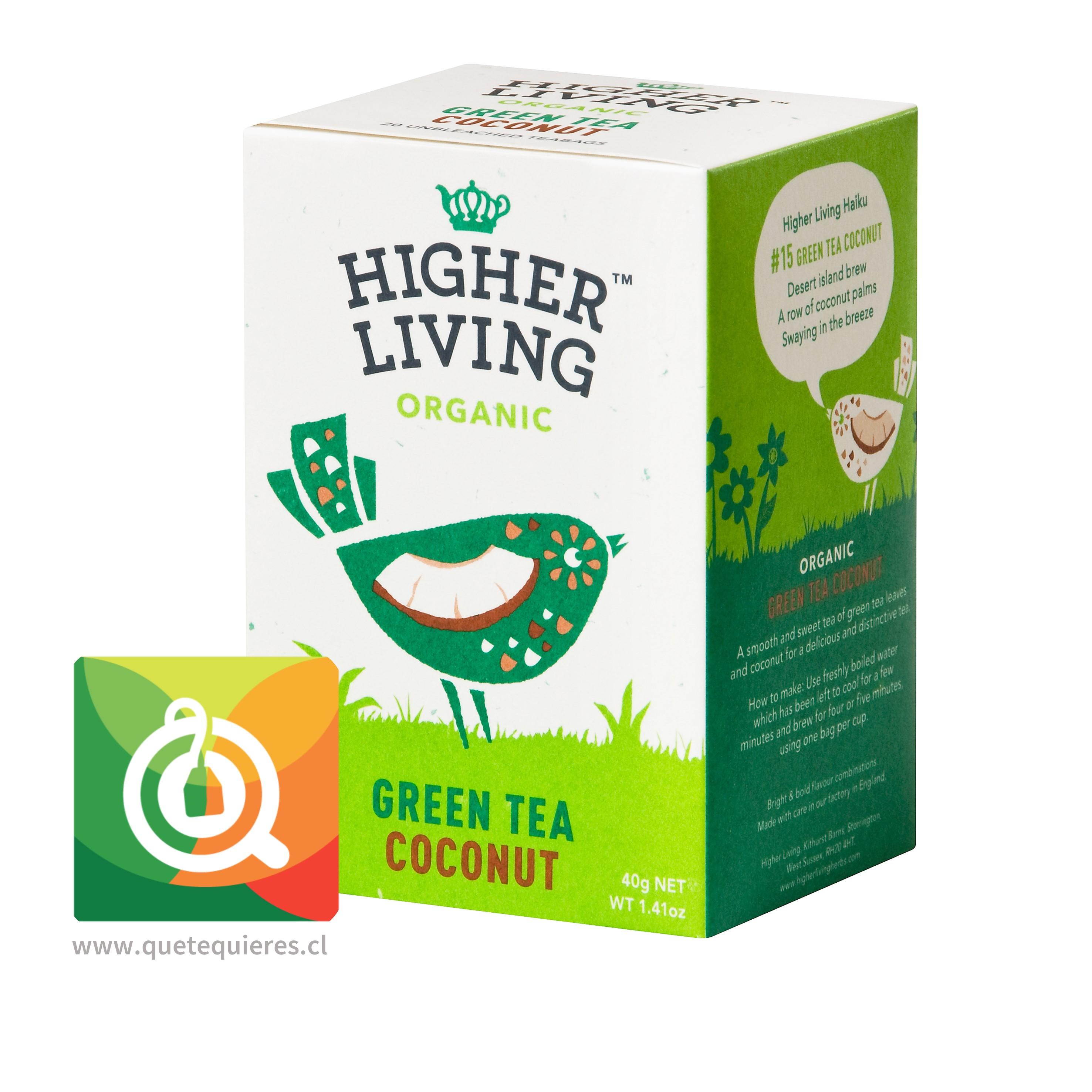 Higher Living Té Verde Orgánico Coco - Organic Green Tea Coconut