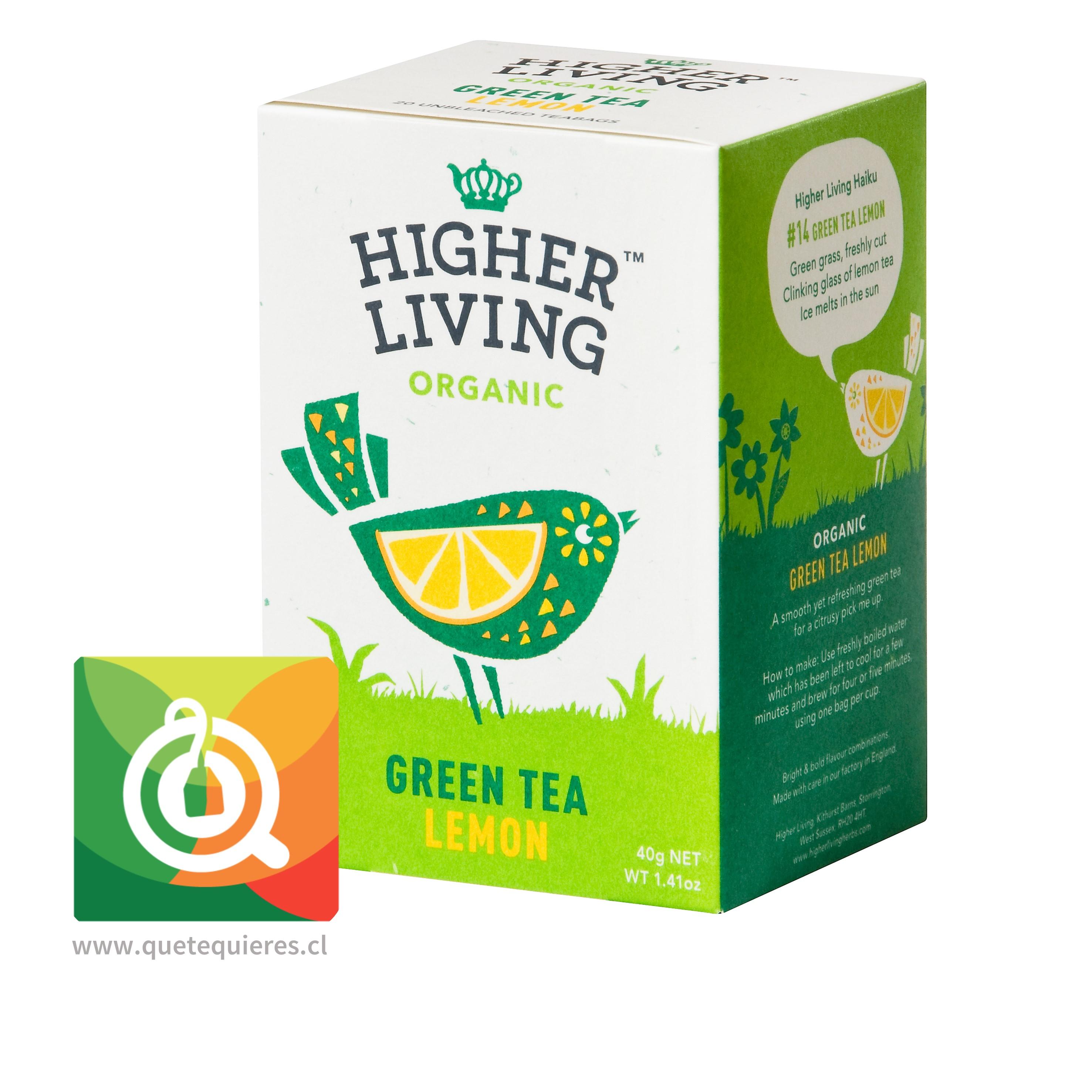 Higher Living Té Verde Orgánico Limón - Organic Green Tea Lemon