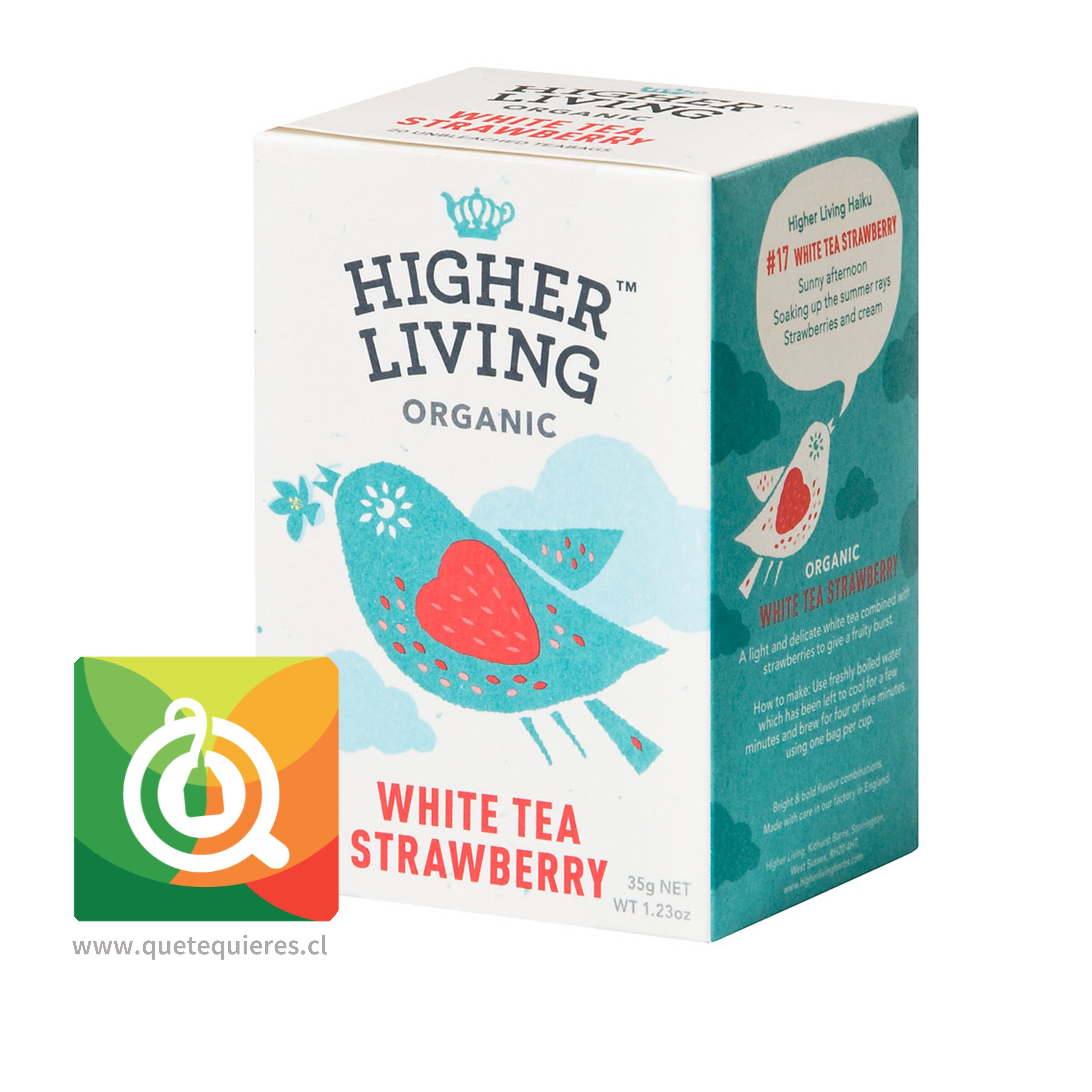 Higher Living Té Blanco Orgánico Frutilla- Organic White Tea Strawberry