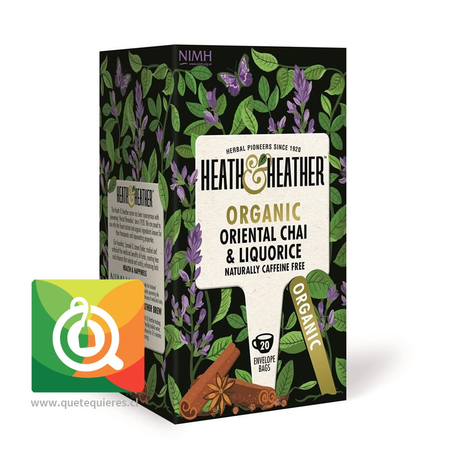 Heath & Heather Infusión Orgánica Chai Dulce - H & H Organic Oriental Chai & Liquorice
