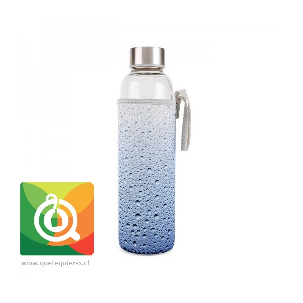 Kikkerland Botella de Vidrio con funda Diseño Gotas de Agua - Glass Bottle + Sleeve