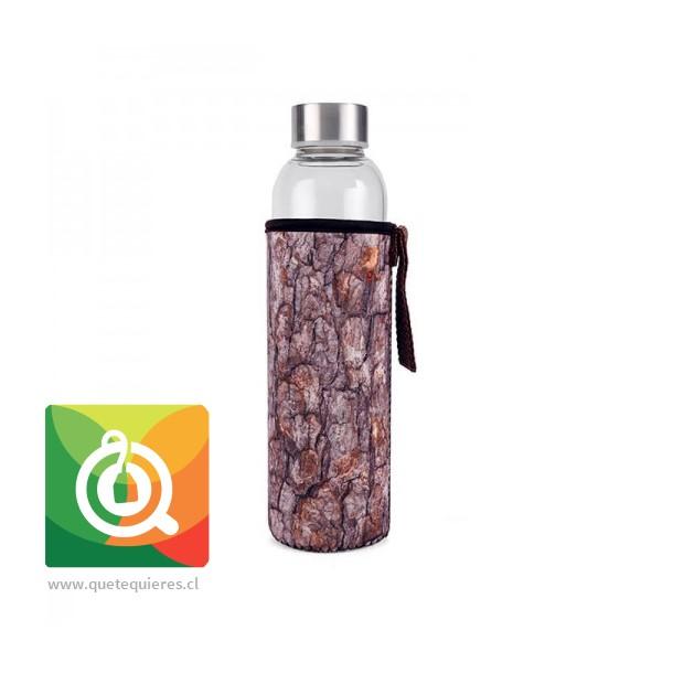 Kikkerland Botella de Vidrio con funda Diseño Corteza - Glass Bottle + Sleeve