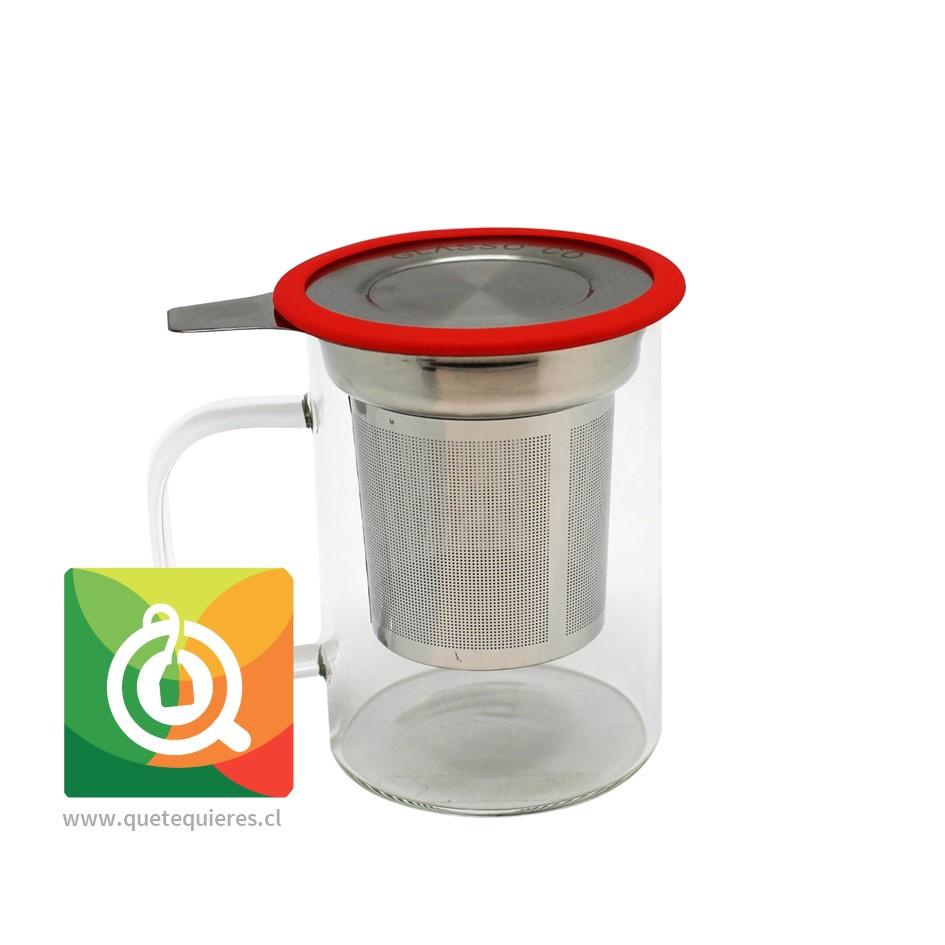 Glasso Mug de Vidrio con Infusor Acero 450 ml Rojo - Image 1