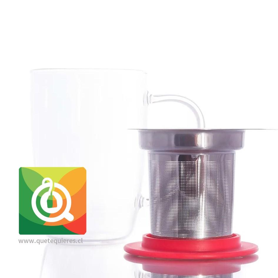 Glasso Mug de Vidrio con Infusor Acero 450 ml Rojo - Image 2