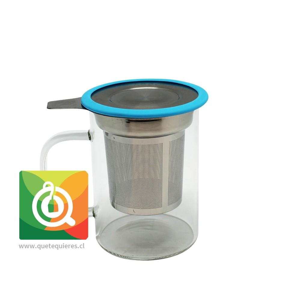 Glasso Mug de Vidrio con Infusor Acero 450 ml Celeste - Image 1