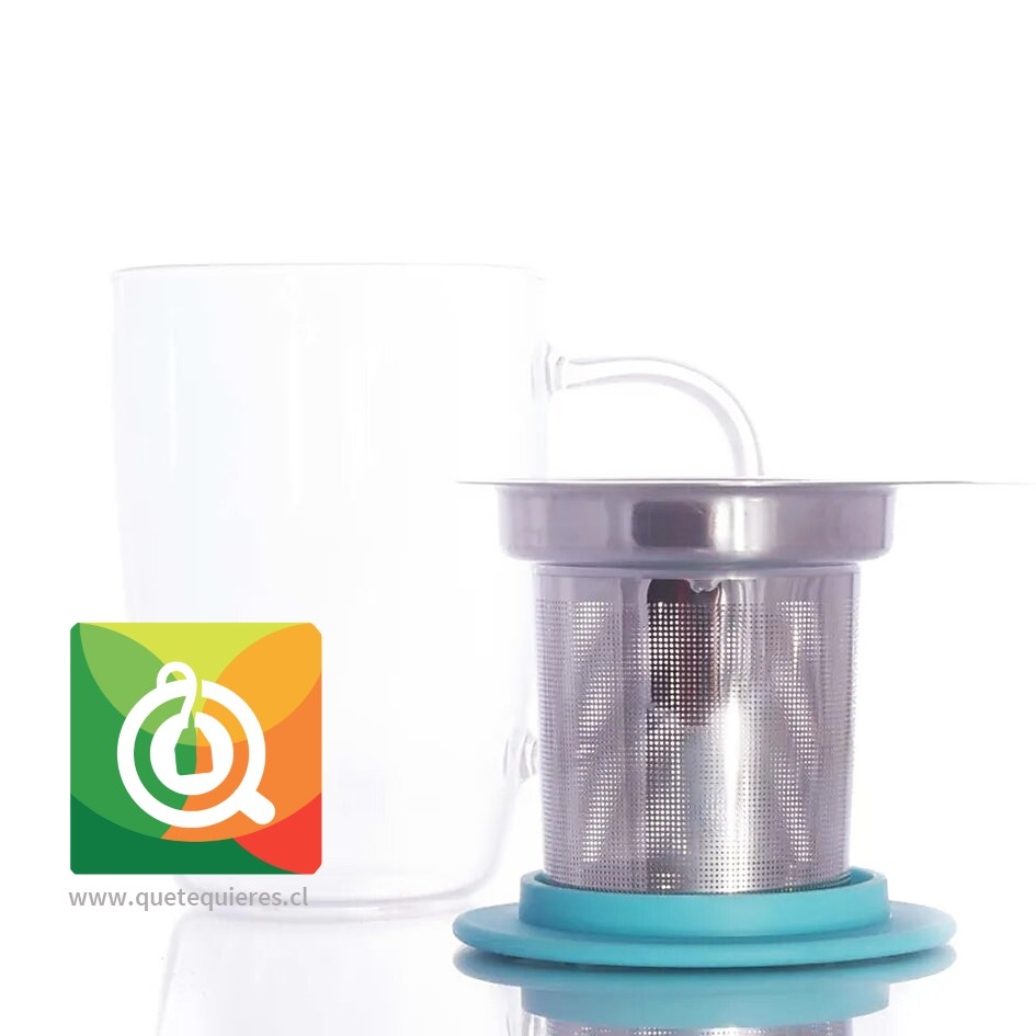 Glasso Mug de Vidrio con Infusor Acero 450 ml Celeste - Image 2