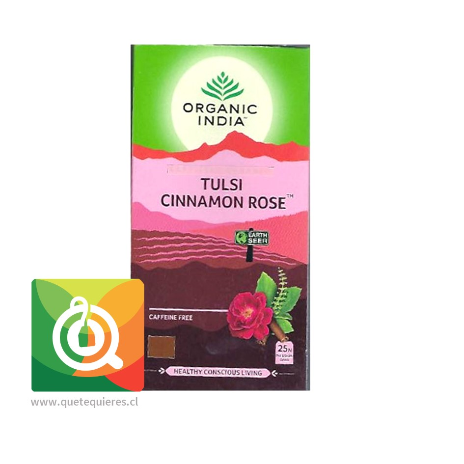 Organic India Tulsi Cinnamon Rose - Infusión Orgánica Tulsi Canela y Rosa
