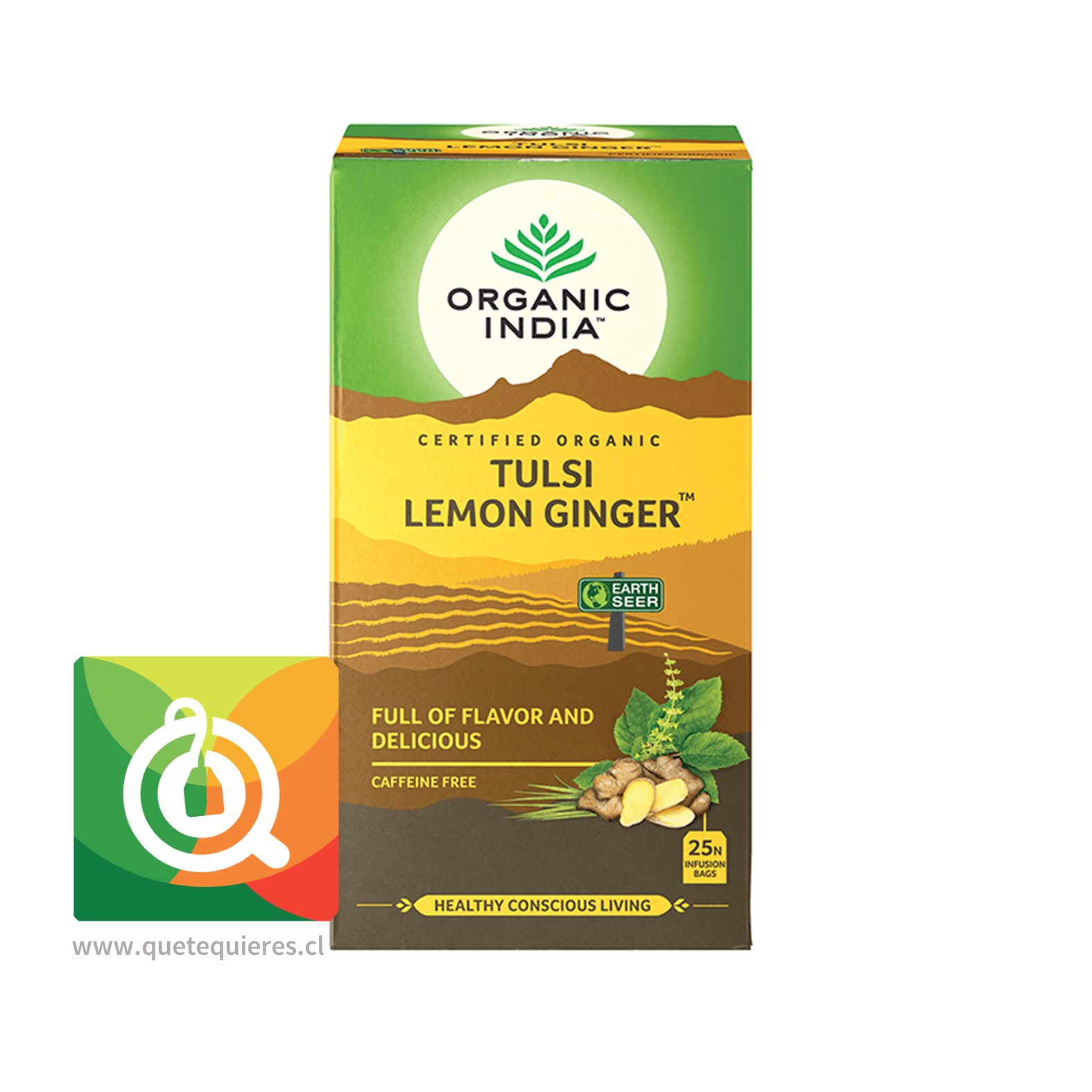 Organic India Tulsi Lemon Ginger- Infusión Orgánica Tulsi, Limón y Jengibre