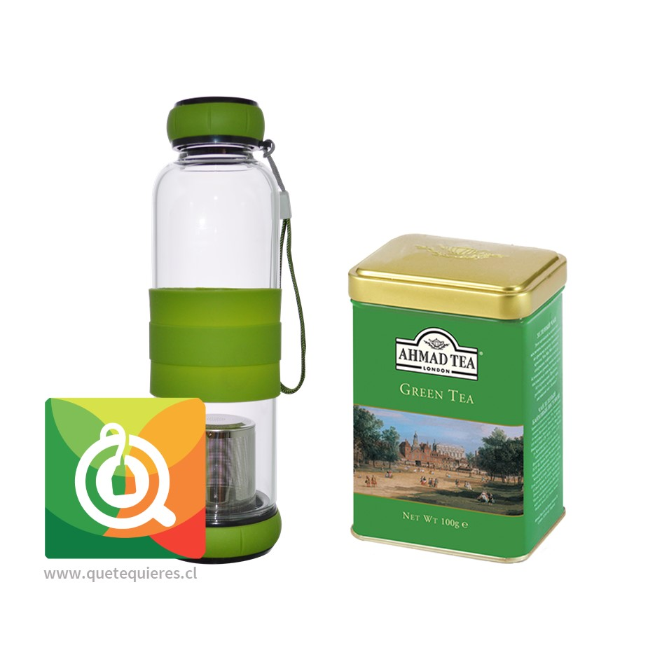 Botella Infusora Vidrio + Lata Té Verde Ahmad